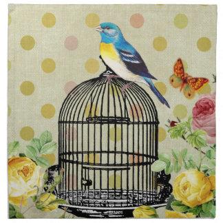 Serviettes En Tissus oiseau floral, art, conception, beau, nouvelle,