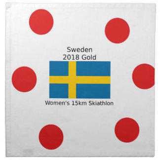 Serviettes En Tissus Or 2018 de la Suède - 15km Skiathlon des femmes