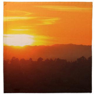 Serviettes En Tissus Orange orange Sun de ciel de Hollywood Los Angeles