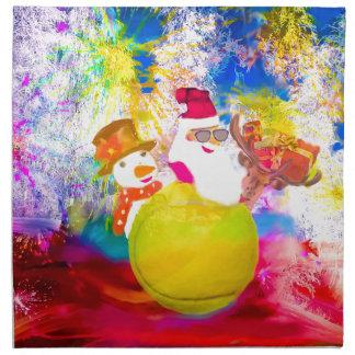 Serviettes En Tissus Père Noël et ses amis apprécient la saison