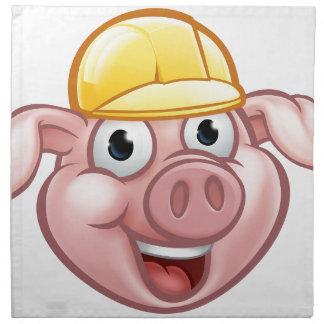 Serviettes En Tissus Personnage de dessin animé de porc de constructeur