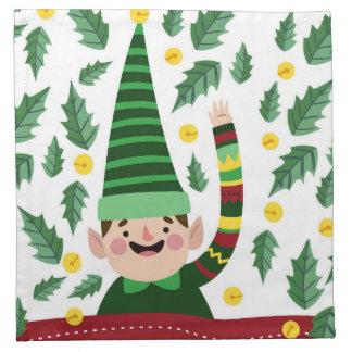 Serviettes En Tissus Petit Noël heureux Elf dans le chandail vert