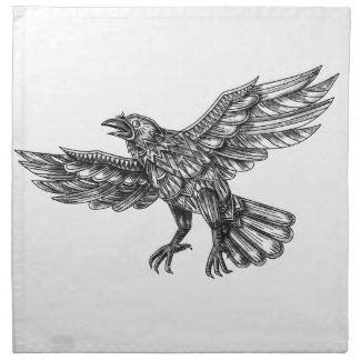 Serviettes En Tissus Raven volant vers le haut du tatouage géométrique