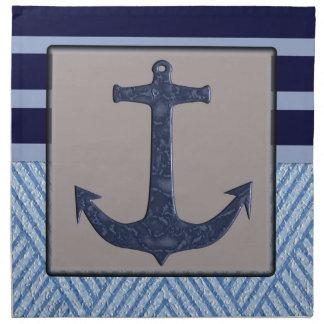 Serviettes En Tissus Rayures nautiques avec l'ancre de bateaux