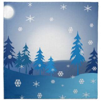 Serviettes En Tissus Scène bleue d'hiver de Noël