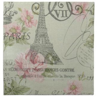 Serviettes En Tissus Tour Eiffel botanique floral rose en bon état de