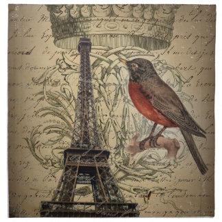 Serviettes En Tissus Tour Eiffel vintage moderne de Paris d'oiseau de