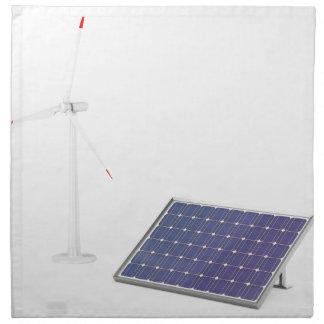 Serviettes En Tissus Turbine de vent et panneau solaire