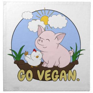 Serviettes En Tissus Vont le végétalien - porc et poulet mignons