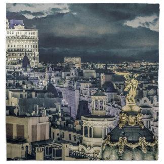 Serviettes En Tissus Vue aérienne de scène de nuit de paysage urbain de