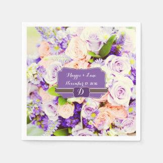 Serviettes florales personnalisées de mariage de serviettes jetables