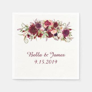 Serviettes florales rouges de collection de serviettes en papier