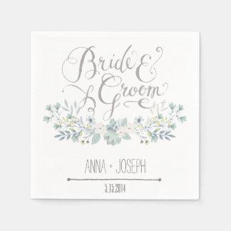 Serviettes florales rustiques de mariage serviettes en papier