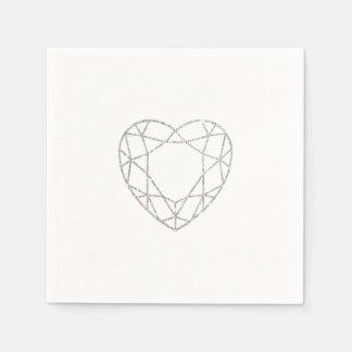 Serviettes géométriques argentées de mariage de serviettes en papier