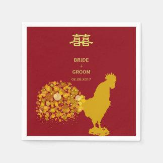 Serviettes Jetables 2017 ans de mariage chinois d'or rouge de coq