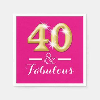 Serviettes Jetables 40 et anniversaire rose fabuleux d'or
