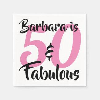 Serviettes Jetables 50 et fête d'anniversaire personnalisée fabuleuse
