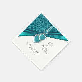 Serviettes Jetables 5ème Anniversaire de mariage de turquoise