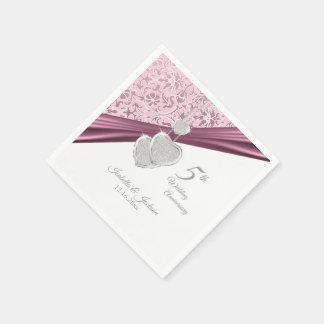 Serviettes Jetables 5ème Anniversaire de mariage rose