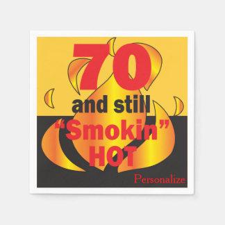 Serviettes Jetables 70 et toujours anniversaire chaud de Smokin |