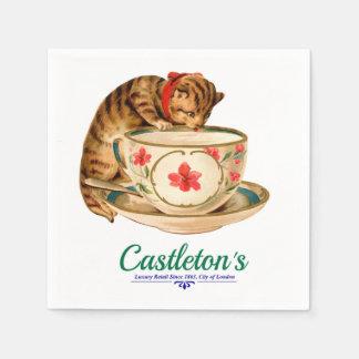 Serviettes Jetables Affiche vintage de tasse de thé et de chaton pour