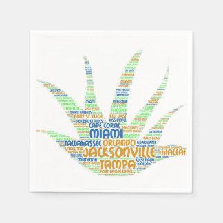 Serviettes Jetables Alove Vera illustrée avec des villes de la Floride