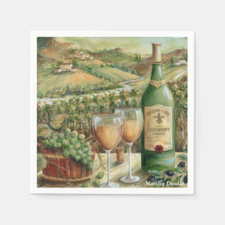 Serviettes Jetables Amateurs de vin blancs