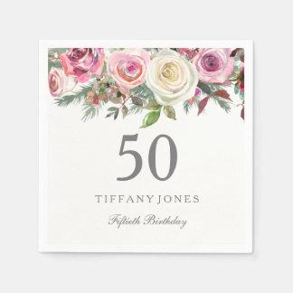 Serviettes Jetables Anniversaire floral blanc élégant de rose rose