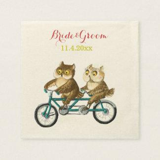 Serviettes Jetables Aquarelle de tandem de bicyclette de hiboux