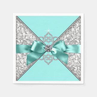 Serviettes Jetables Arc bleu turquoise de diamant