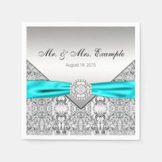 Serviettes Jetables Argent élégant et mariage bleu turquoise