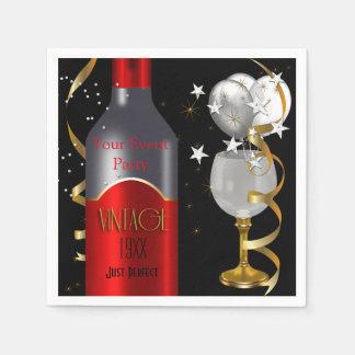 Serviettes Jetables Argent vintage d'or de noir de vin rouge