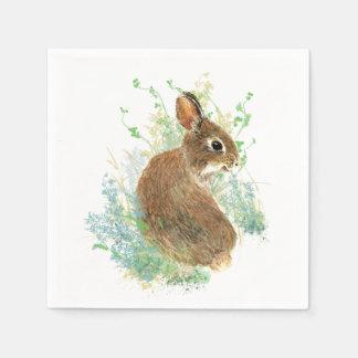 Serviettes Jetables Art mignon d'animal de lapin d'aquarelle