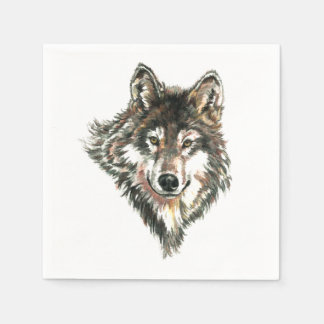 Serviettes Jetables Art principal d'aquarelle de logo de loup