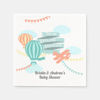 Serviettes Jetables Avion et ballon de baby shower d'aventure