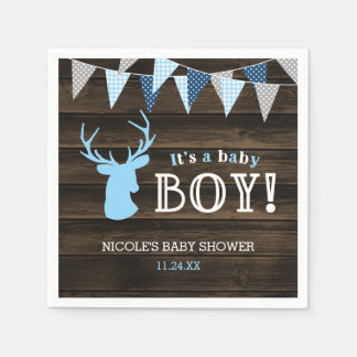 Serviettes Jetables Baby shower bleu en bois rustique de garçon de