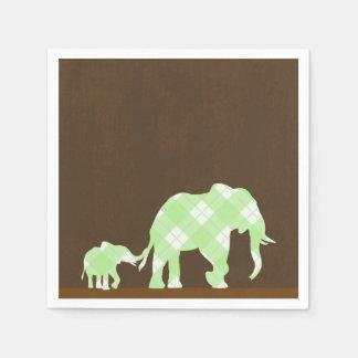 Serviettes Jetables Baby shower moderne à la mode de Brown d'éléphants