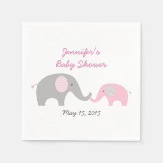 Serviettes Jetables Baby shower rose d'éléphant de Chevron