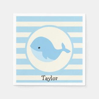 Serviettes Jetables Baleine de bleus layette mignonne ; Rayures