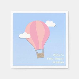 Serviettes Jetables Ballon à air chaud, baby shower de fille