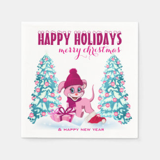 Serviettes Jetables Bande dessinée adorable de chiot de Noël rose