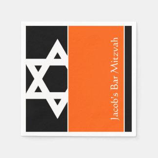 Serviettes Jetables Barre orange et noire Mitzvah d'étoile de David