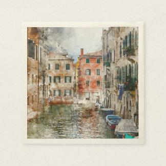 Serviettes Jetables Bateaux dans les canaux de Venise Italie
