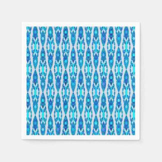 Serviettes Jetables Batik tribal - gris bleu et argenté de saphir