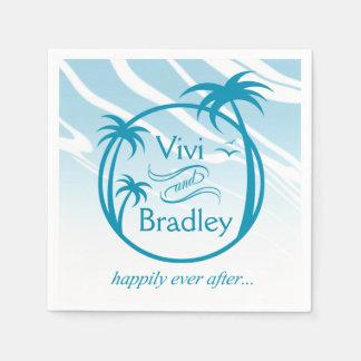 Serviettes Jetables Bleu du logo | de paume de surf de plage