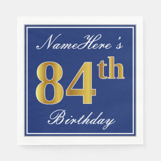 Serviettes Jetables Bleu élégant, anniversaire d'or de Faux