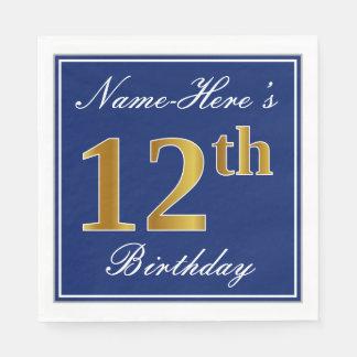 Serviettes Jetables Bleu élégant, anniversaire d'or de Faux 12ème ;