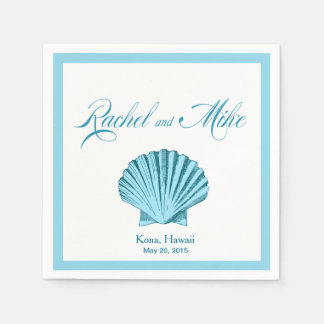 Serviettes Jetables Bleu en bon état du mariage de plage de coquillage