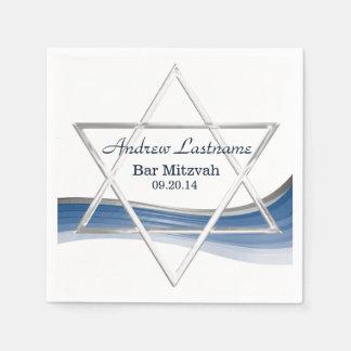 Serviettes Jetables Bleu et argent de Mitzvah de barre d'étoile de