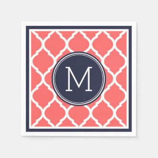 Serviettes Jetables Bleu marine et monogramme de corail de mariage de